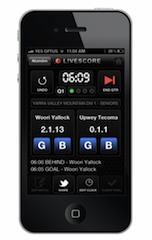Live scoring app for footy